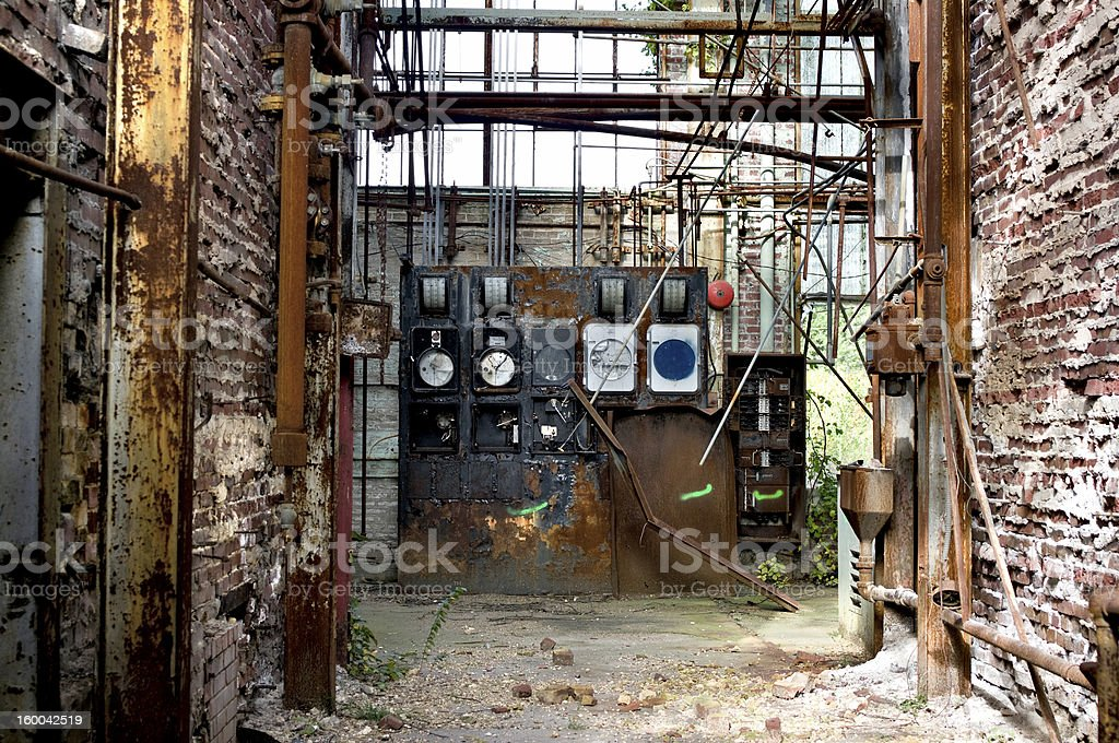 Old factory hallway royalty-free stock photo