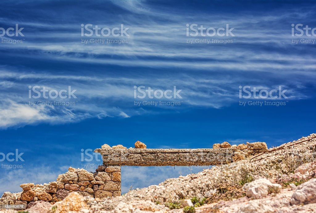 Old factory on Milos island, Cyclades, Greece stock photo