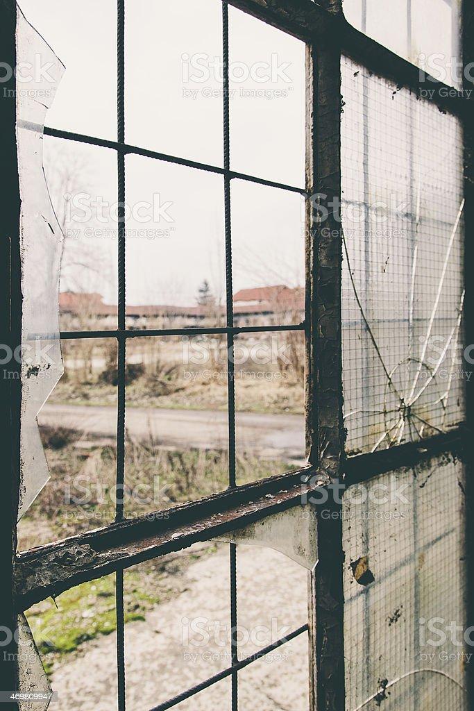 Old Factory Window stock photo