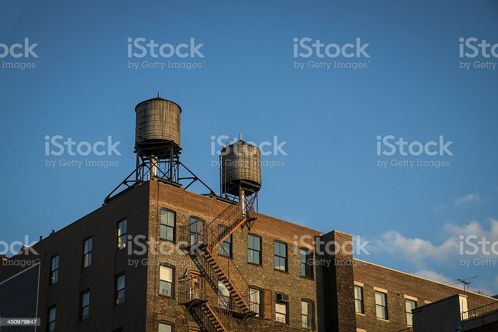 Old factory with water towers, New York City stock photo