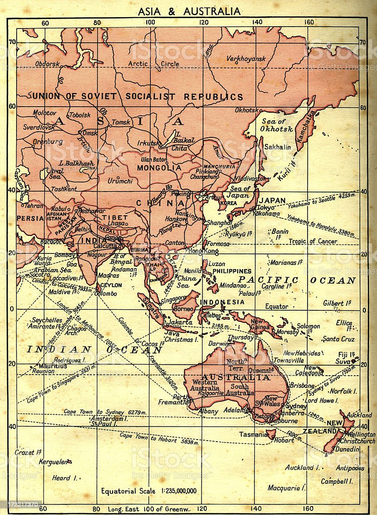 old faded map of russia/asia/australia stock photo