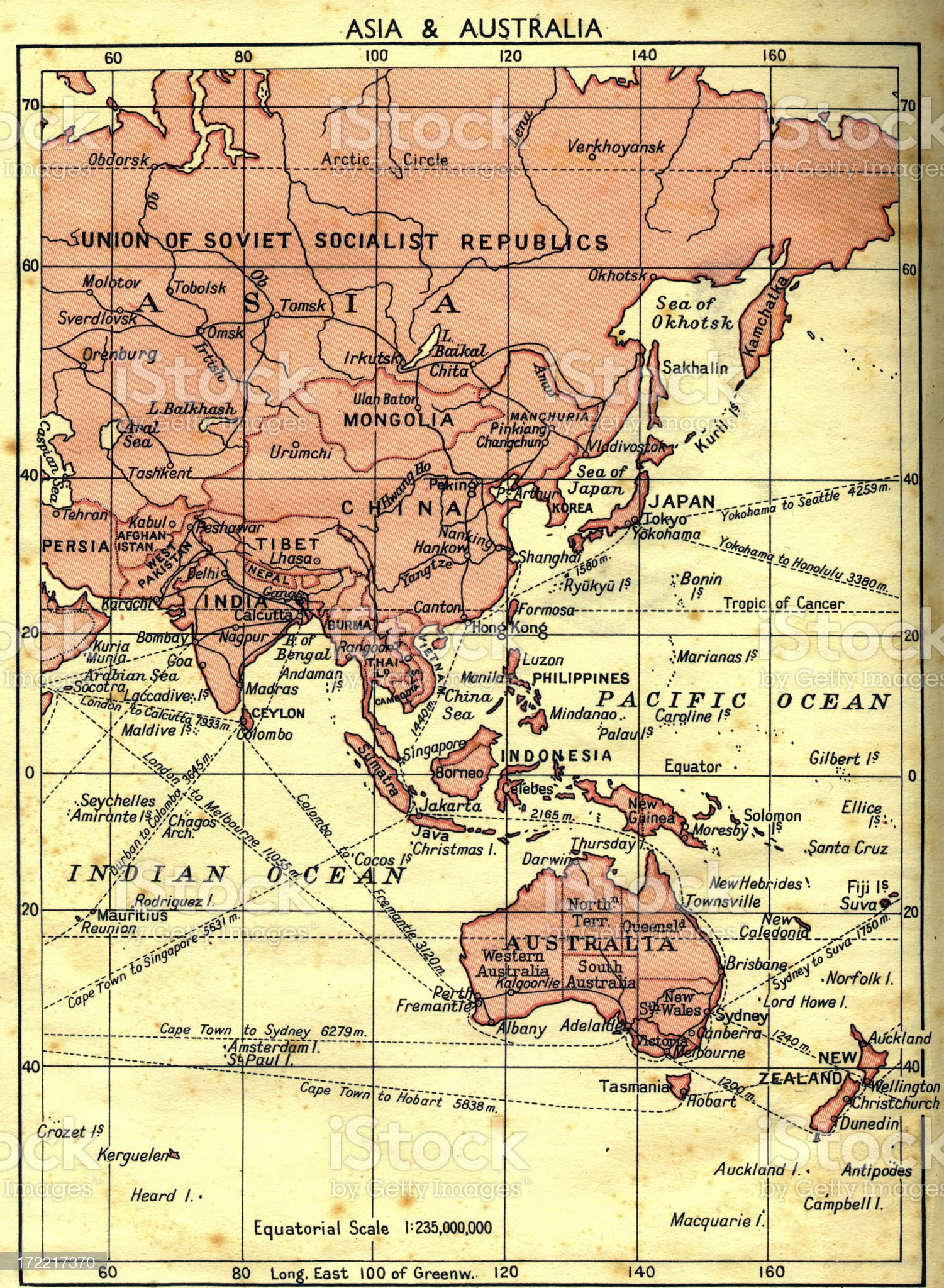 old faded map of russia/asia/australia royalty-free stock photo