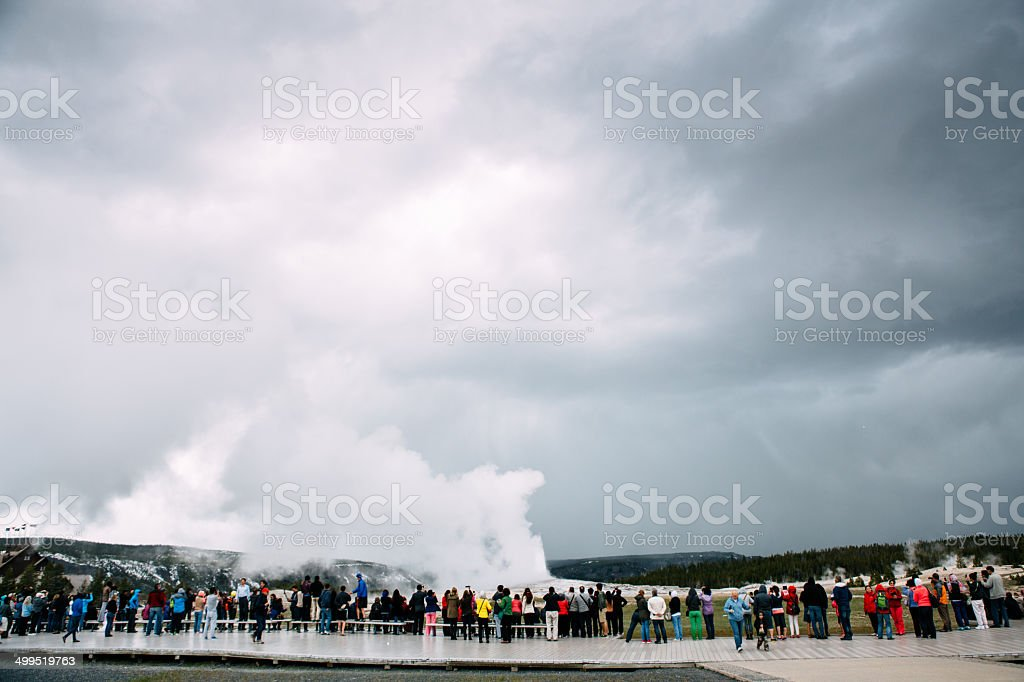 Old Faithful Geyser with Crowd royalty-free stock photo