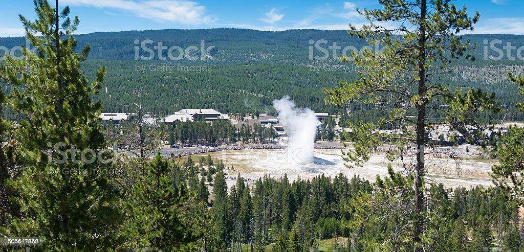 Old Faithful Geyser, Yellowstone National Park stock photo