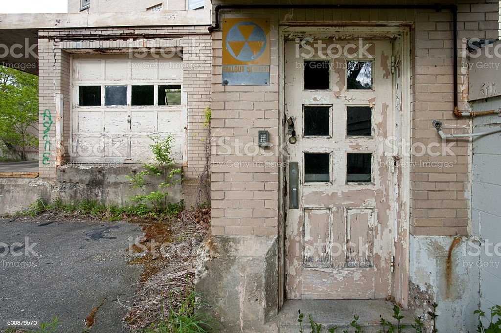 Old fallout shelter entrance stock photo