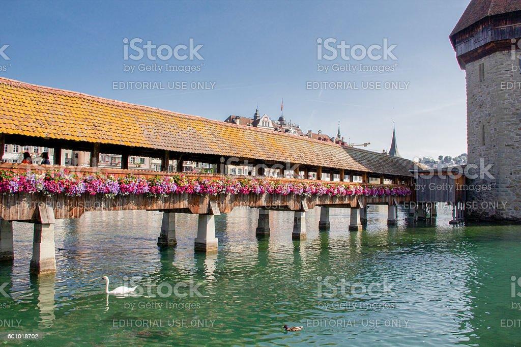 Old famous wooden chapel bridge in Lucern, Switzerland stock photo