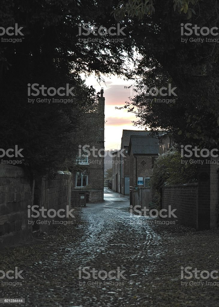 old farm buildings at twilight stock photo