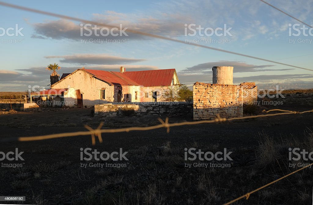Old farm house in the Karoo stock photo