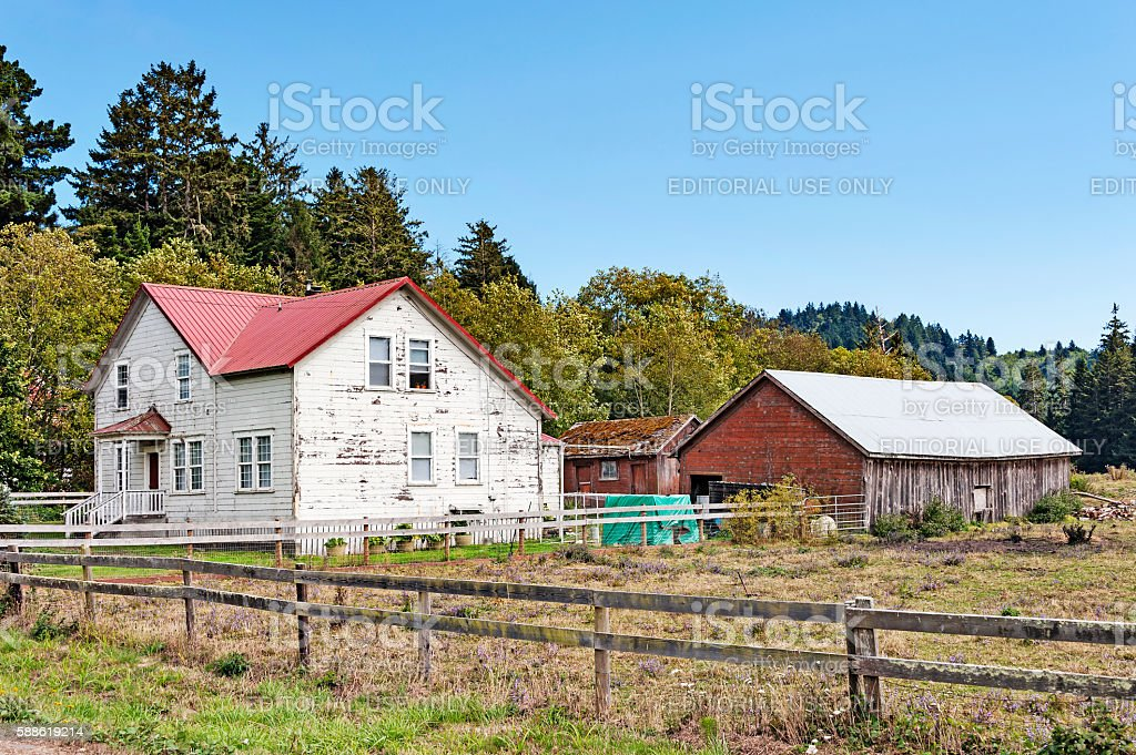 Old Farm House with Barn and Fence stock photo