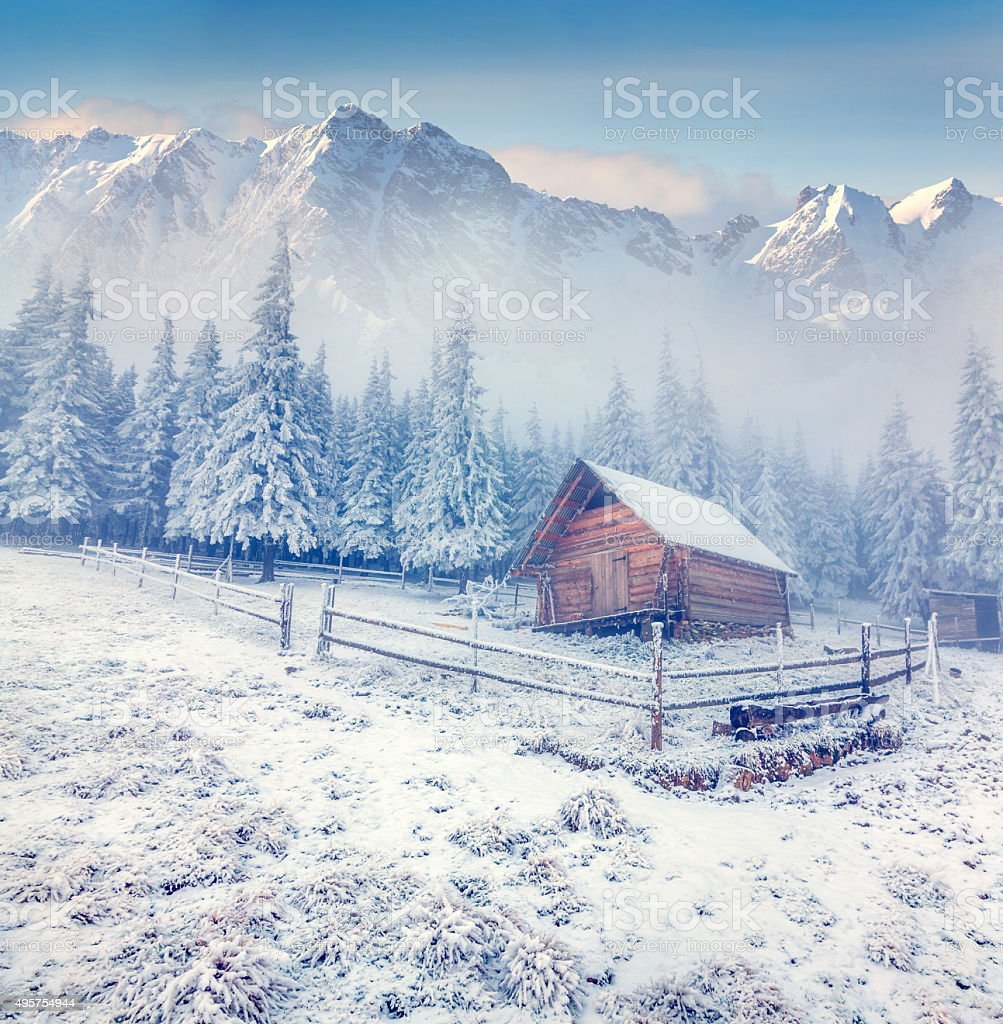 Old farm in the foggy winter mountains stock photo