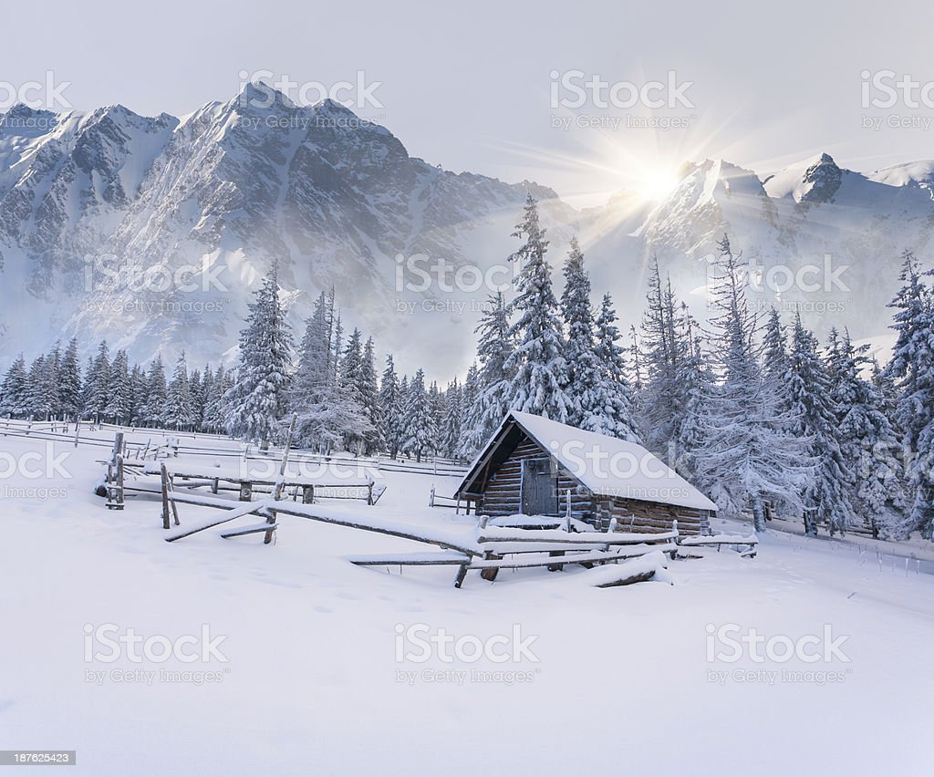 Old farm in the mountains. stock photo