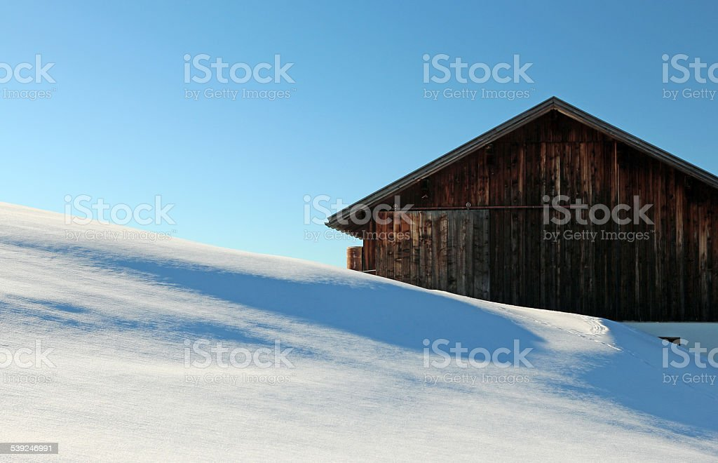 Old farm in the mountains stock photo