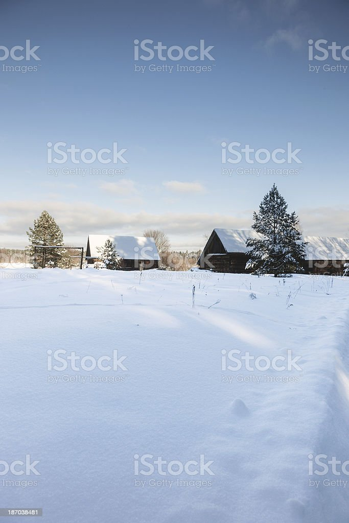 Old farm in winter stock photo