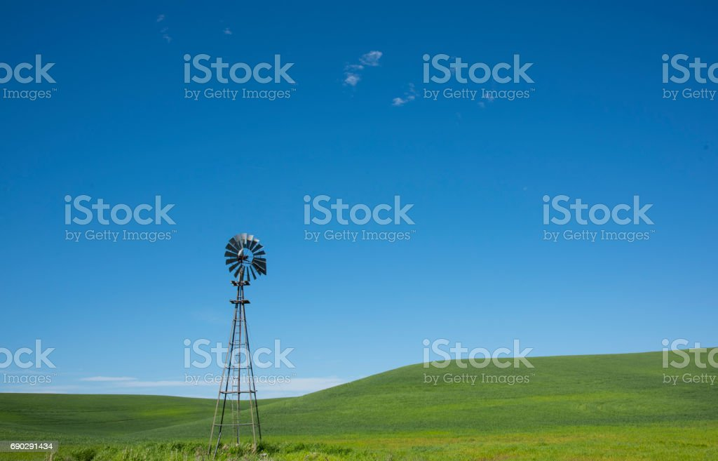 Old Farm Windmill on the Field in Palouse stock photo