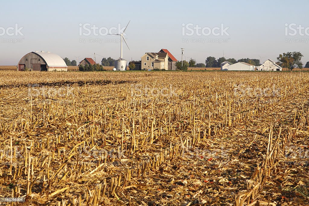 Old Farm with New Wind Turbine stock photo