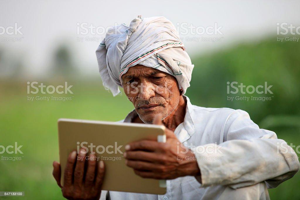Old farmer holding digital tablet stock photo