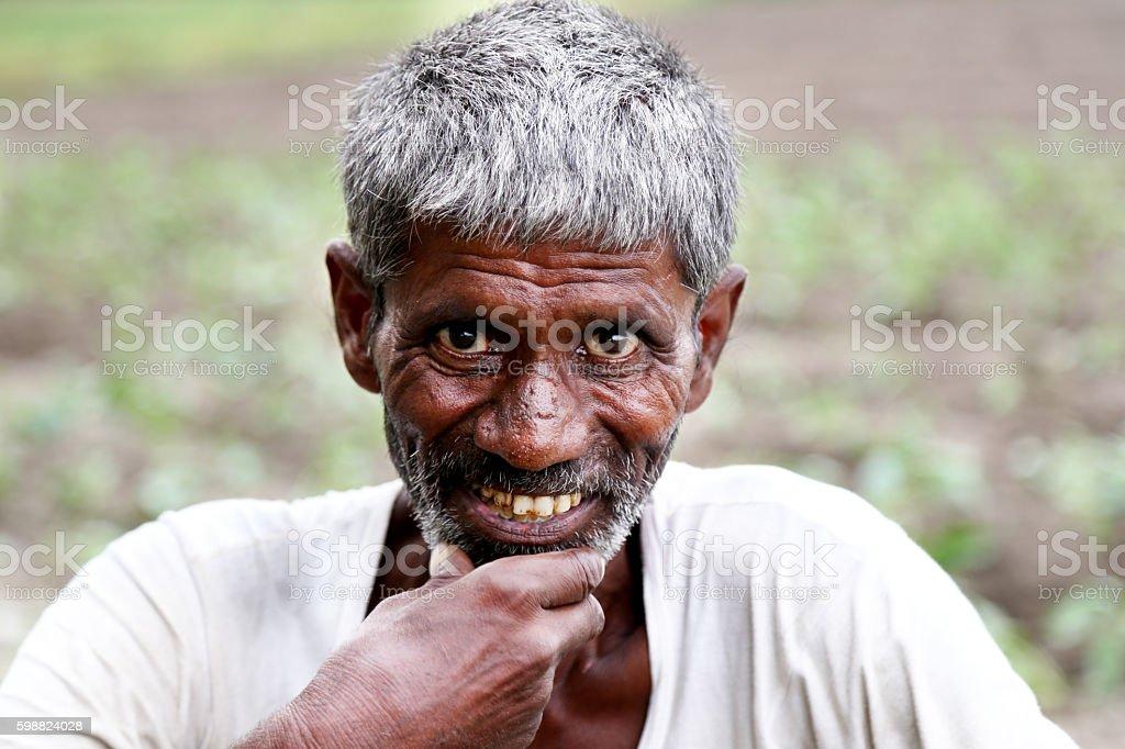 Old farmer portrait stock photo