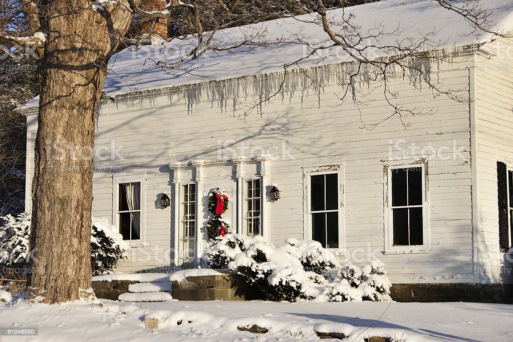 Old Farmhouse in Winter royalty-free stock photo