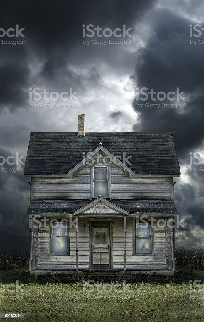 Old Farmhouse Stormy Sky stock photo