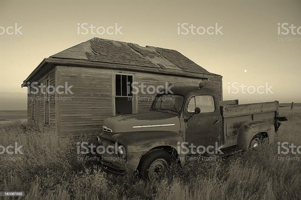 old farmyard B&W royalty-free stock photo