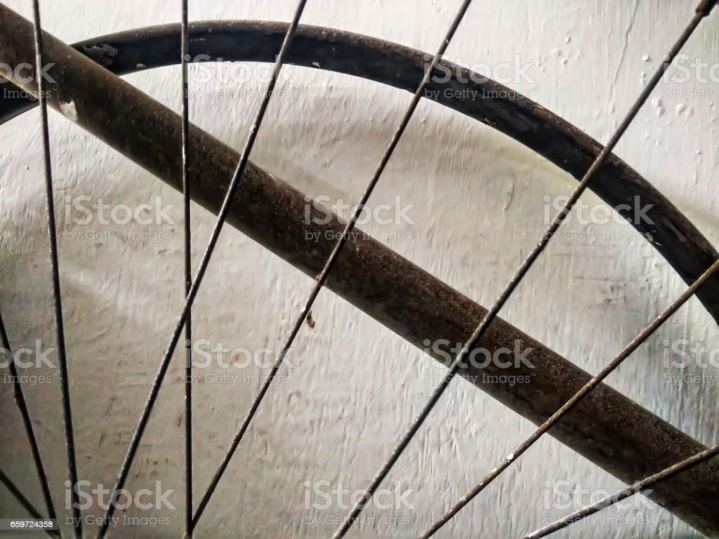 Old fashion bicycle junk part stock photo