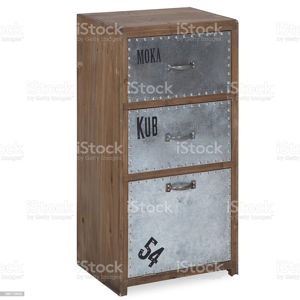 Old Fashion Chest Of Drawers In Wood And Iron Isolated royalty-free stock photo