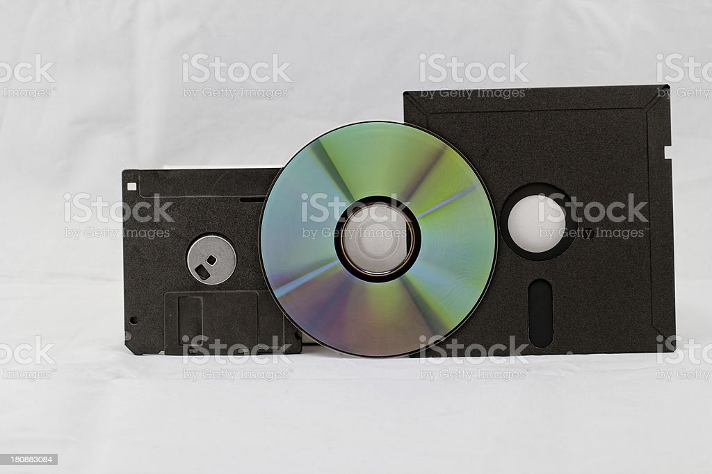 old fashion floppy an cd dvd royalty-free stock photo