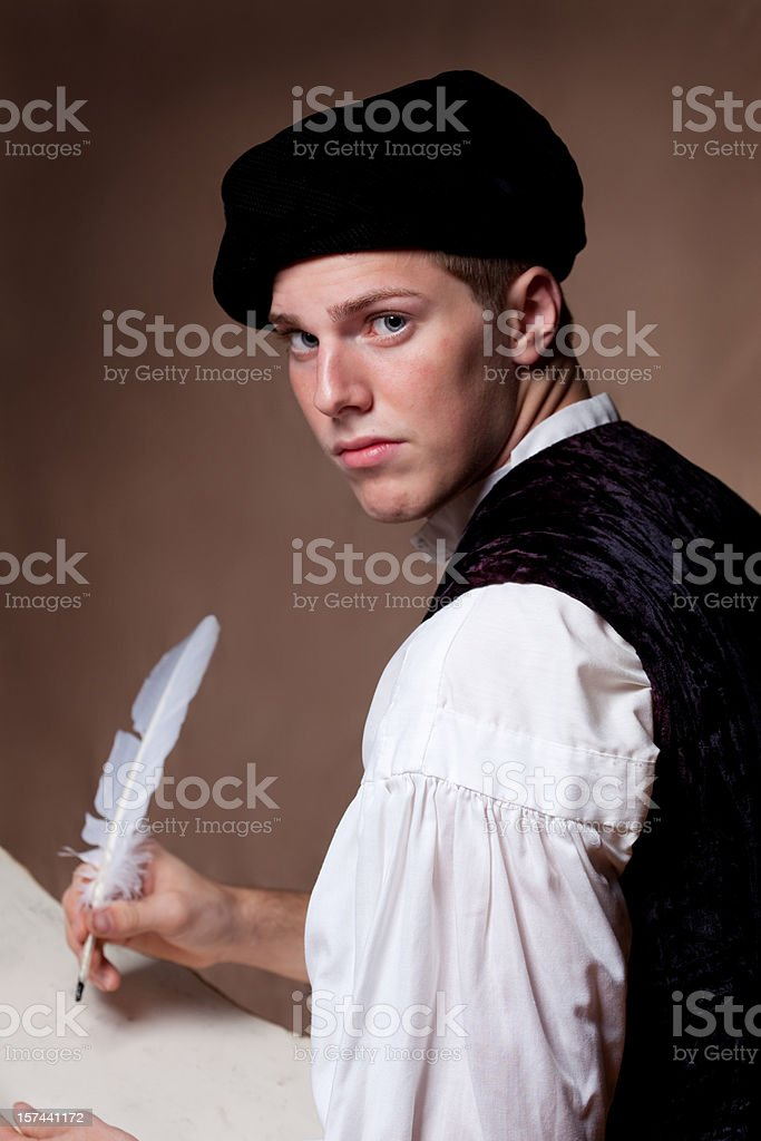Old Fashion Man Writing royalty-free stock photo