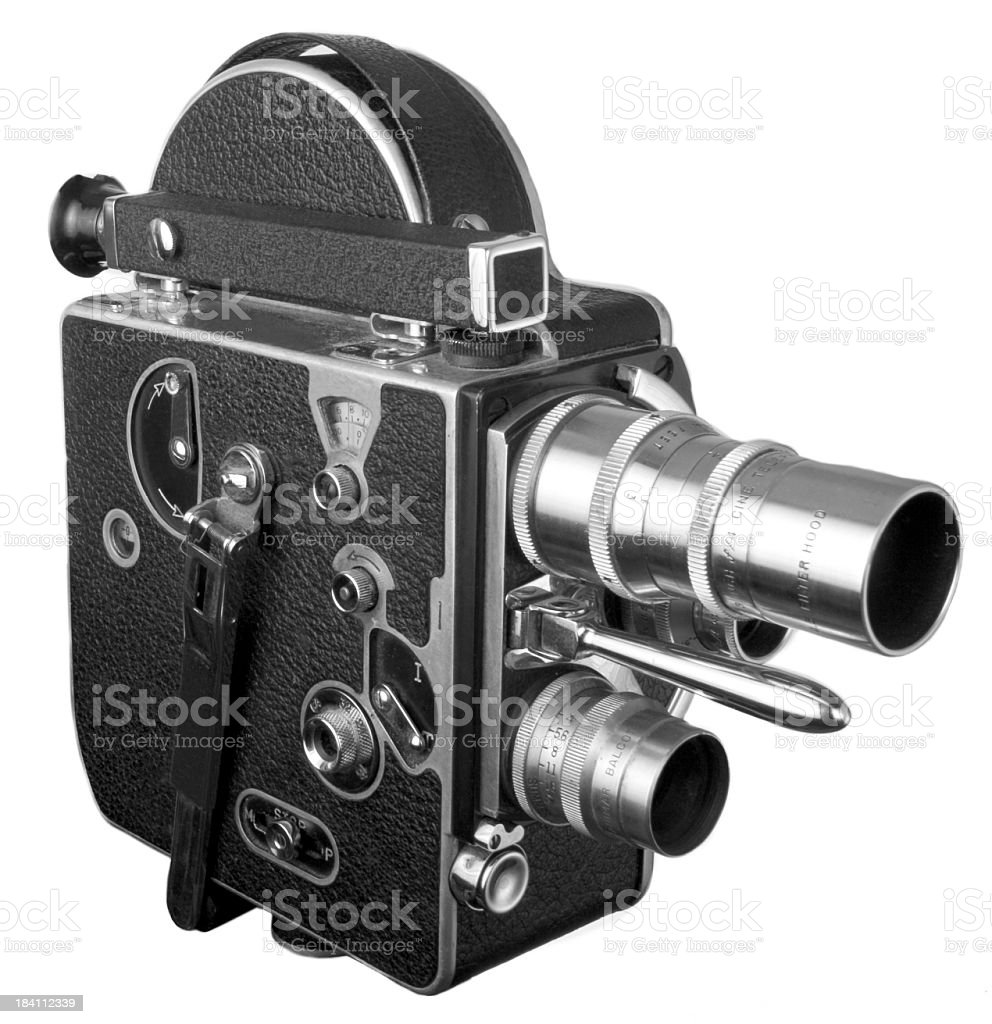 Old fashioned 16 mm movie Camera isolated on white stock photo
