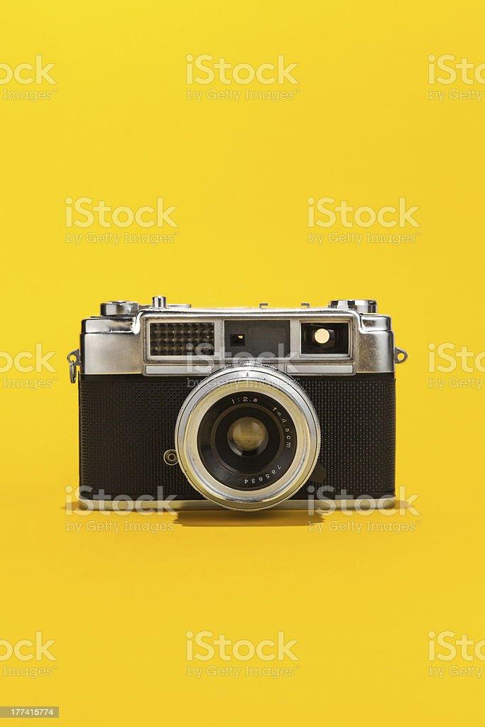 Old fashioned analog film camera stock photo
