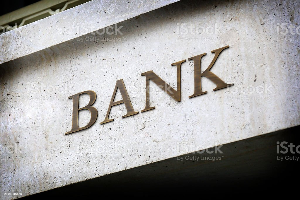 Old Fashioned Bank Sign stock photo