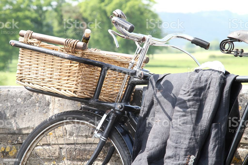 old fashioned bicycle with basket stock photo
