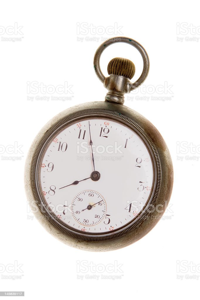 Old Fashioned  Brass Pocket Watch, Isolated on White Background royalty-free stock photo