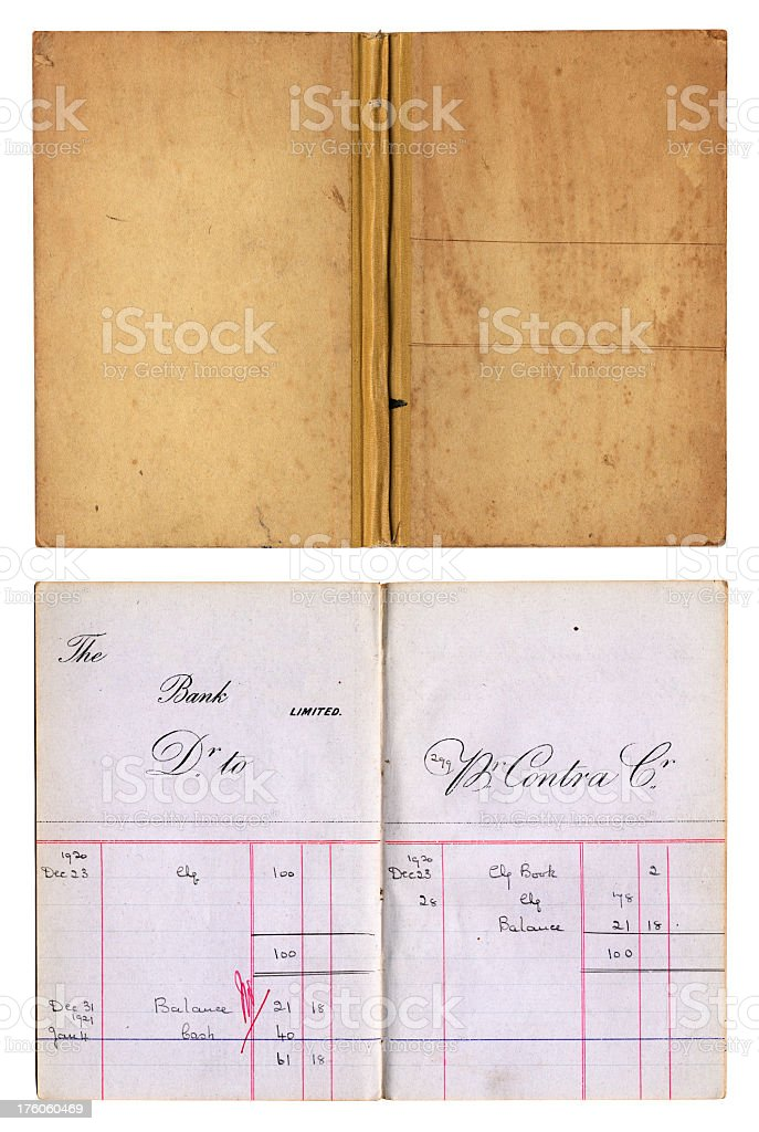 Old fashioned British bank book, inside spread and cover stock photo