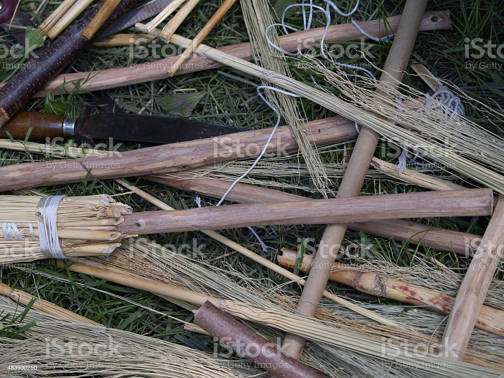 Old Fashioned Brooms stock photo