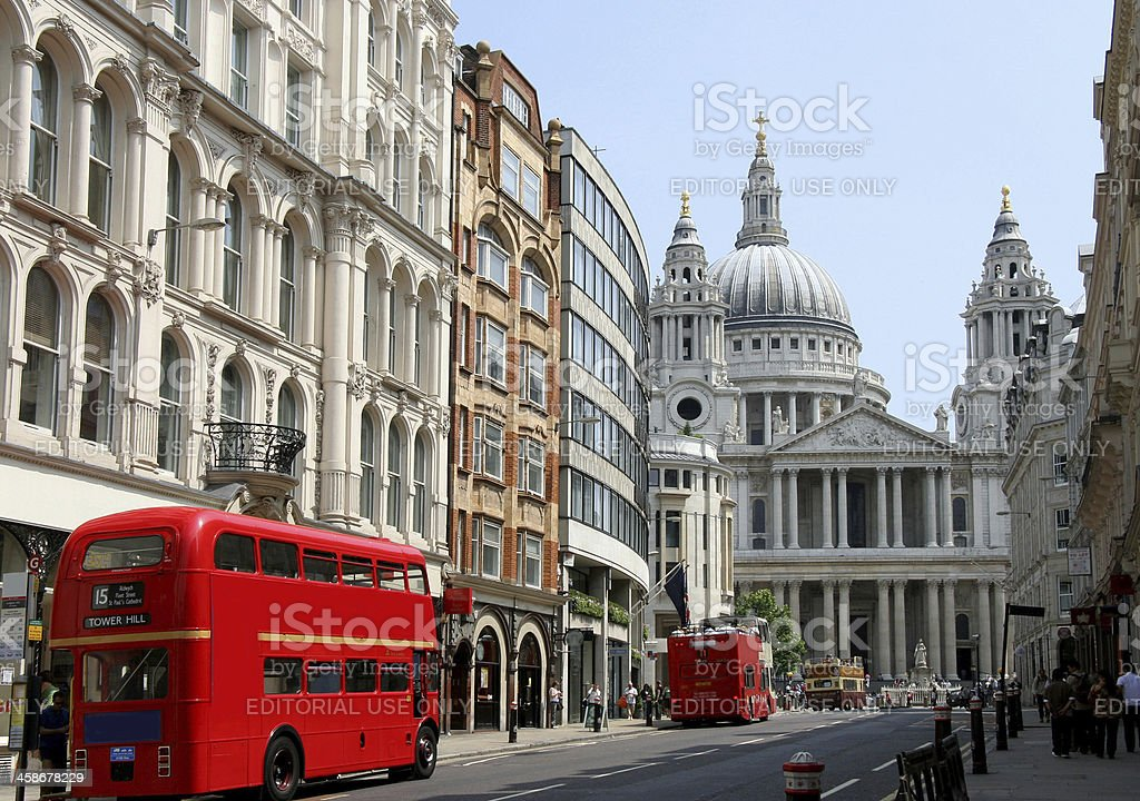 Old fashioned bus in London stock photo