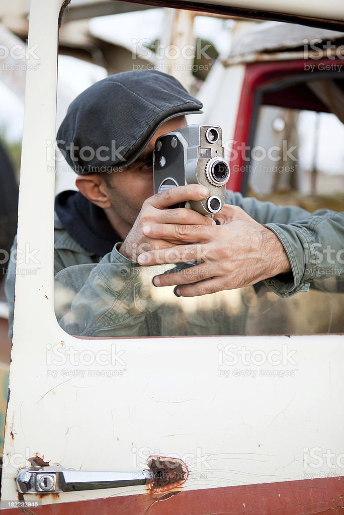 Old fashioned cameraman royalty-free stock photo