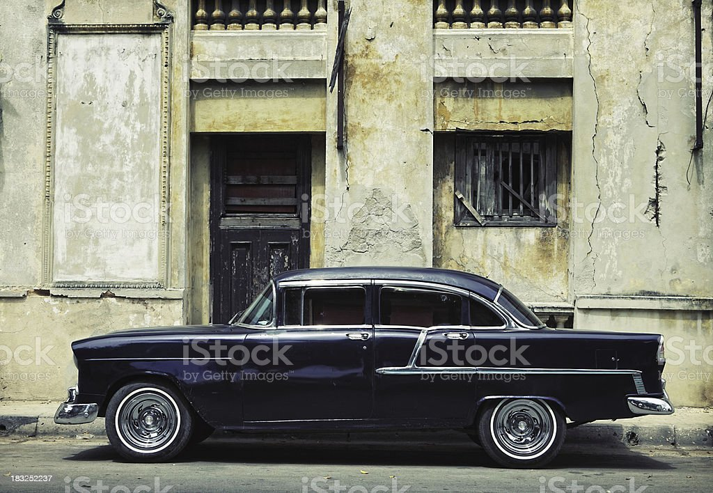 Old fashioned car on the road in Havana, Cuba royalty-free stock photo