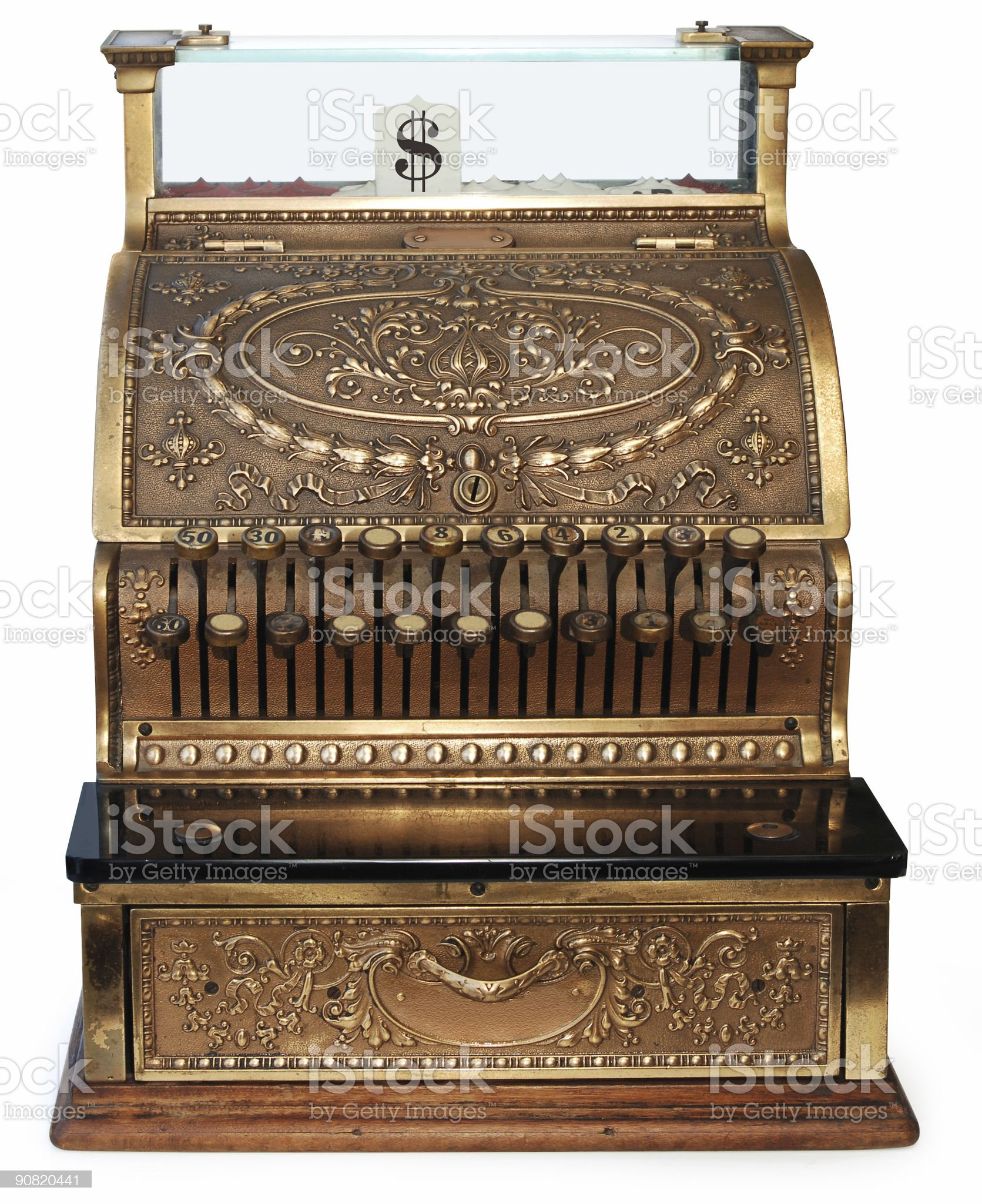 old fashioned cash register orthographic royalty-free stock photo