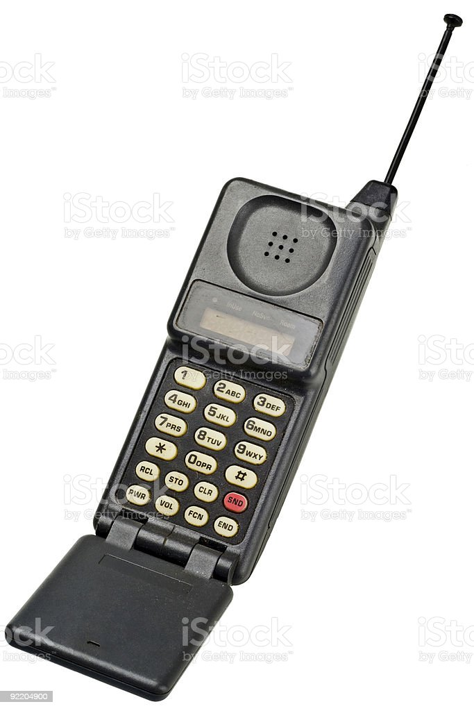Old fashioned cellphone on white background royalty-free stock photo