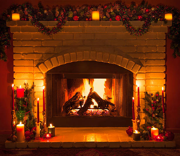Old fashioned Christmas Fireplace (P) stock photo - Fireplace Pictures, Images And Stock Photos - IStock