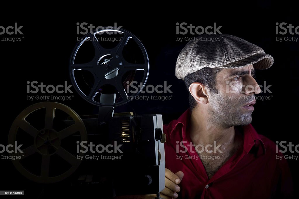 Old Fashioned Cinema projectionist stock photo