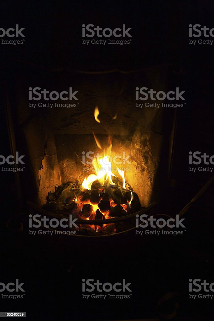 Old Fashioned Coal Fire In Cottage stock photo
