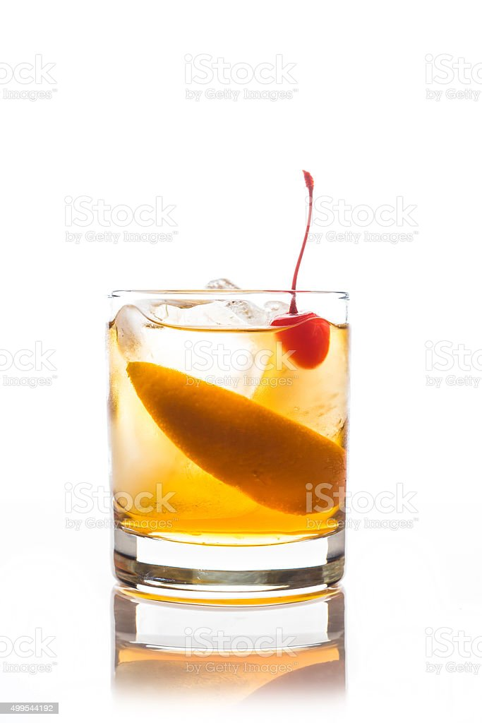 Old fashioned cocktail stock photo