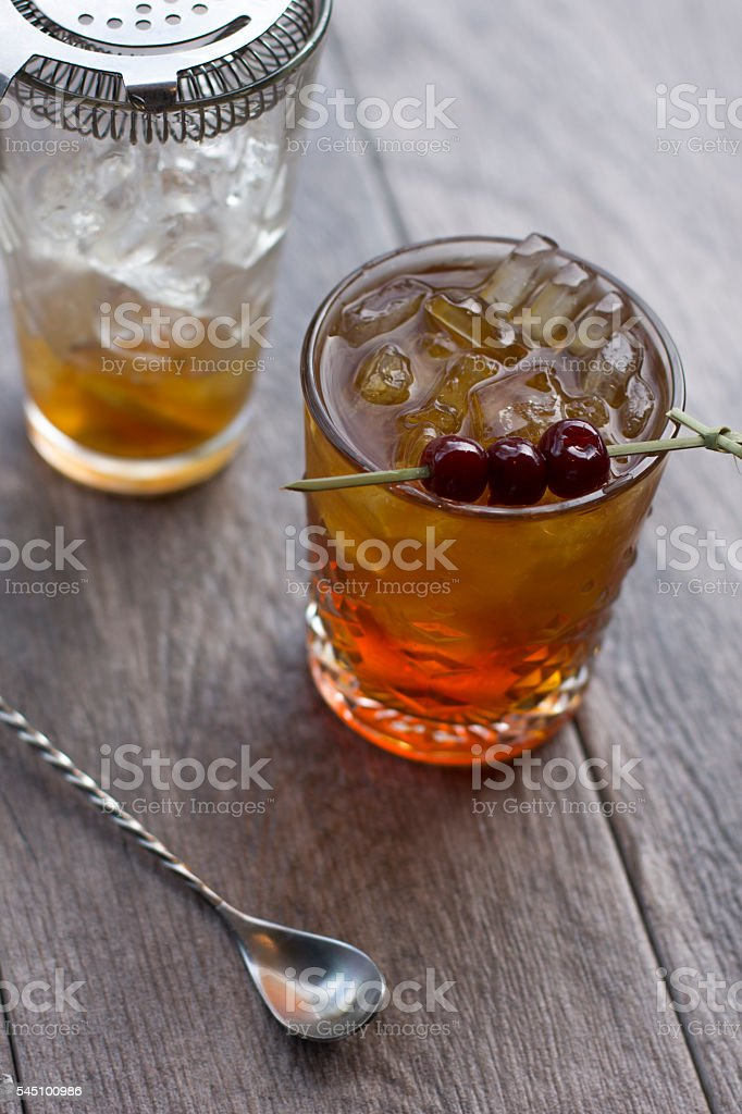Old Fashioned Cocktail Preparation stock photo