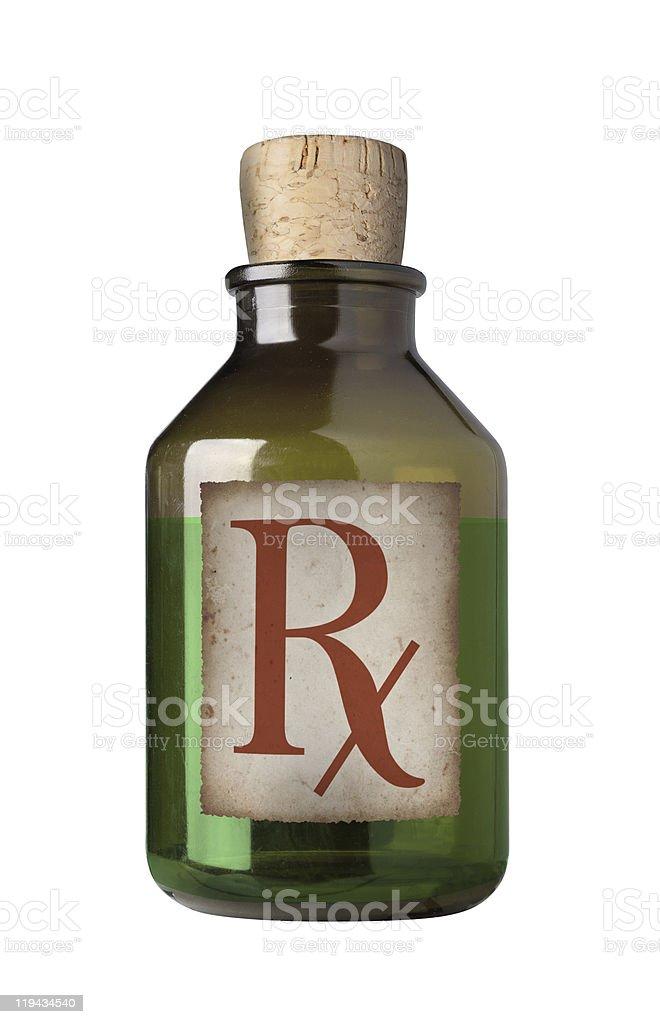 Old fashioned drug bottle, isolated. royalty-free stock photo