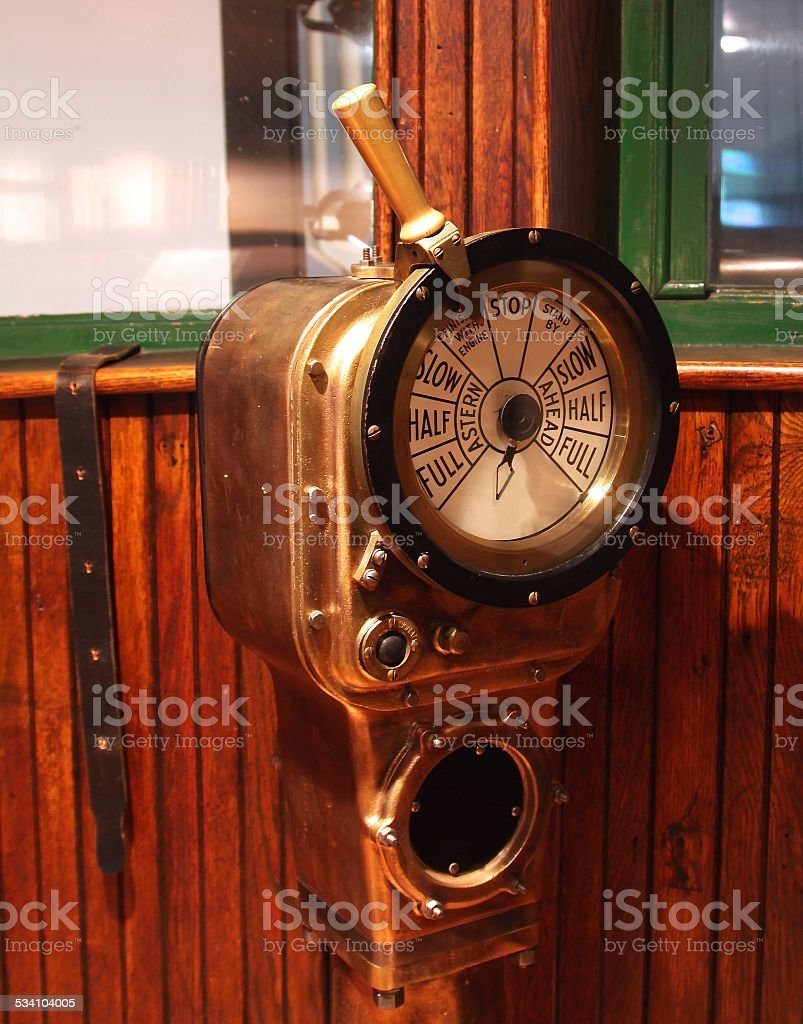 Old Fashioned Engine Telegraph For A Ship stock photo
