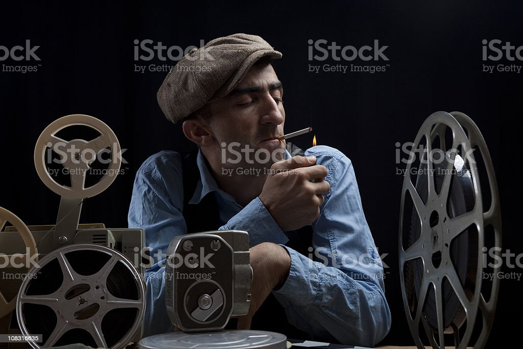 Old Fashioned Film Director With Cinema Equipments stock photo