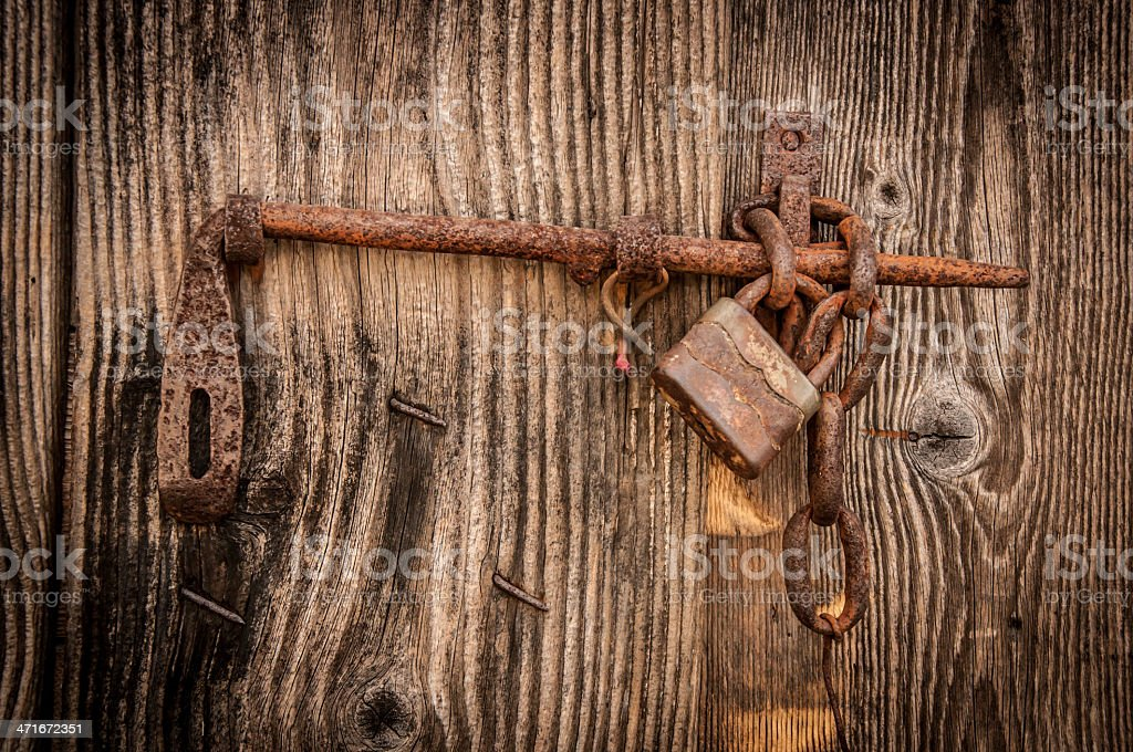 Old fashioned gate with locker stock photo