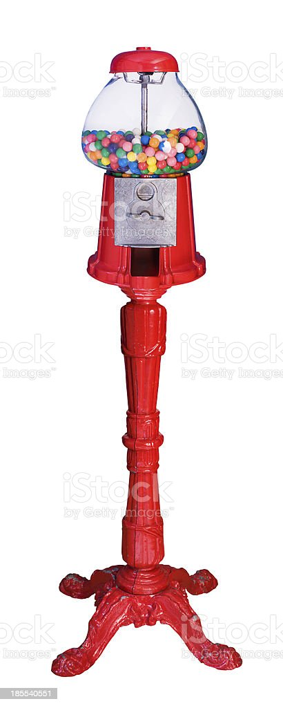 Old Fashioned Gumball Machine (Isolated) stock photo